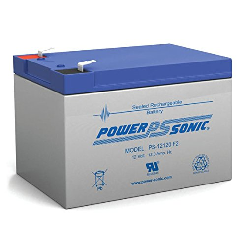 Find Discount Powersonic PS-12120F2 - 12 Volt/12 Amp Hour Sealed Lead Acid Battery with F2 Terminals