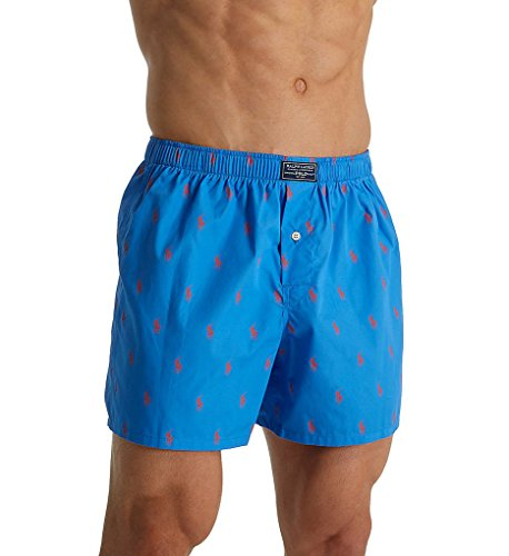 Polo Ralph Lauren Men's All Over Pony Player Woven Boxer Underwear (Small, Jewel Blue) ()