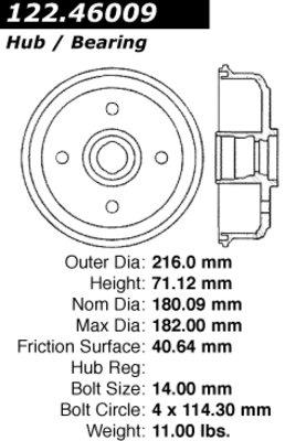 Centric Parts 122.46009 Brake Drum Power Slot