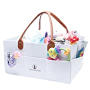 Extra Large Diaper Caddy by Delaware Holly: Felt Baby Diaper Storage Caddy with Leather Handles | Portable Storage Caddy Organizer/Nursery Organizer/Toy Caddy Organizer | Baby Shower Gifts