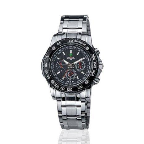 Weide Mens 6 Manos Cron¨®grafo Negro Dial acero inoxidable reloj de cuarzo suizo