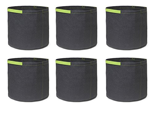 247Garden 6-Pack 3 Gallon Grow Bags /Aeration Fabric Pots w/Handles (Black w/Short Handles) (Pot Gallon 3 Nursery)