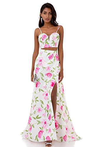 Kevins Bridal Two Piece Floral Print Prom Dress Spaghetti Strap Long Evening Gown White Size 6 (Floral Spaghetti Strap Evening Gown)