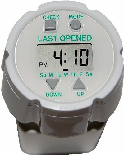 Pill Timer. Easy to Set. Automatically Records Last Opened Day and Time Indicator. Up to 24 Auto-Repeating Daily Alarms. Popular e-Pill TimeCap fits on Pill Bottle (Included). (Pills Bottle)