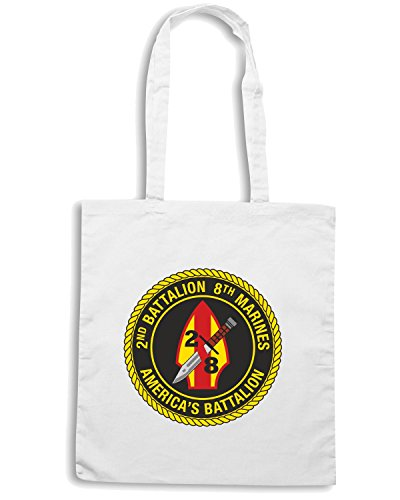 T-Shirtshock - Bolsa para la compra TM0323 2nd Battalion 8th Marine Regiment USMC usa Blanco