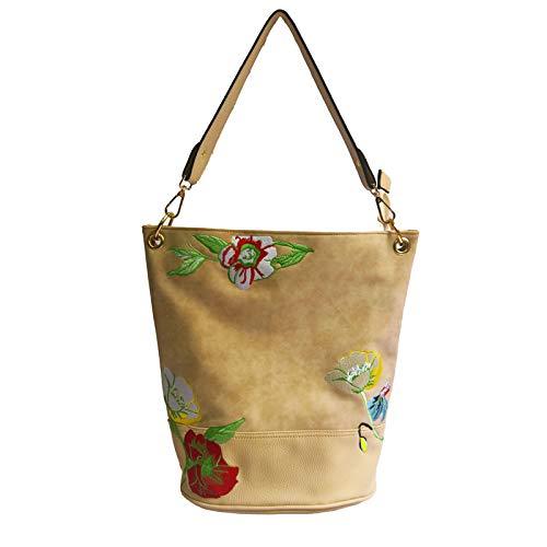 Fashion Europa Stati Daypack Uniti Shoulder gli e Messenger Shlbag Apricot Women Package New Embroidery 3L54ARj