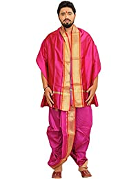 Exotic India Ready to Wear Dhoti and Veshti Set with Wo