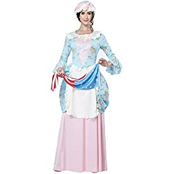 California Costumes Women's Colonial Lady Costume, Blue/Pink, Large