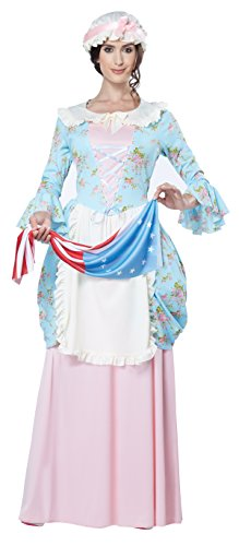 California Costumes Women's Colonial Lady Costume, Blue/Pink, Small