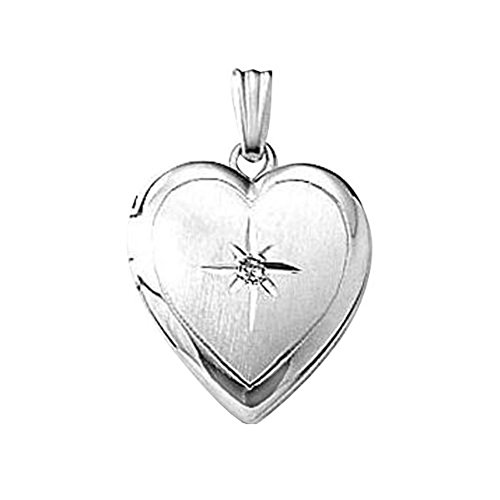 PicturesOnGold.com Sterling Silver Heart Locket W/Diamond...