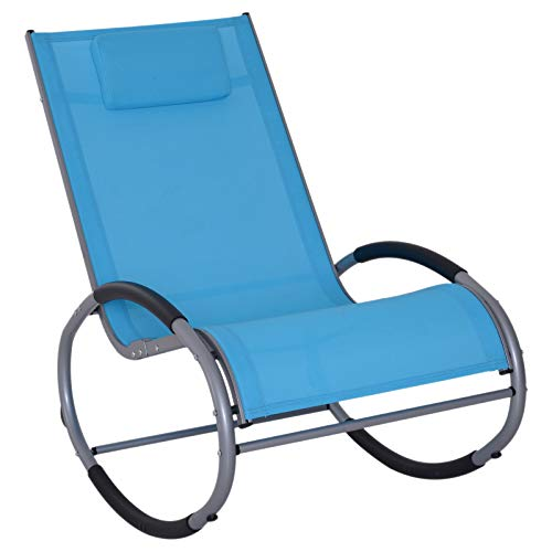 Outsunny Zero Gravity Rocking Chaise Lounge Sling Reclining Chair - Blue