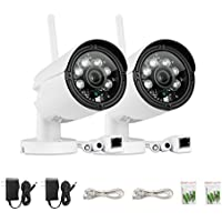 SANNCE (2) 720p HD Wireless Home Security Cameras with 32GB SD card Pre-installed, Smart Bullet IP Camera with True Day and Night Protection, IP66 Weatherproof for Indoor and Outdoor Use (2 Pack)