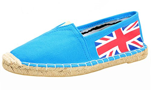 Popuus Womens Fashion Straw -Soled Canvas Loafers Blue