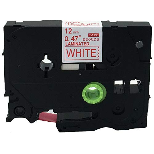Red on White Label Tape Compatible for Brother TZ 232 TZe 232 P-Touch 26.2ft 12mmx8m