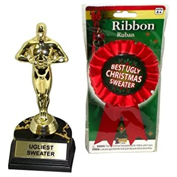 Prizes for an ugly sweater contest trophy