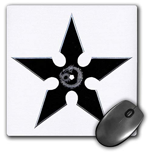 3dRose Boehm Graphics Martial Arts - A Black Shuriken with Dragon Art - Mousepad (mp_244308_1)