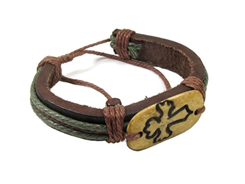 Cross of the Ages, Brown Leather Bracelet with Earthtone Cord and Beads ()