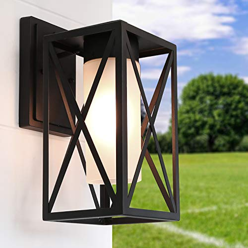 LALUZ Outdoor Wall Light, Farmhouse Exterior Light Fixtures with Frosted Glass for Entryway, Yards, Front Porch A03500