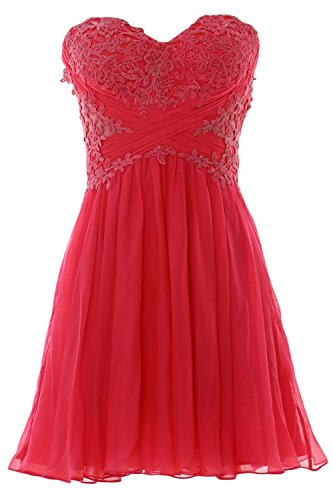Mini MACloth Formal Lace Chiffon Strapless Party Prom Women Gown Rot Dress Cocktail rpxIpYnz