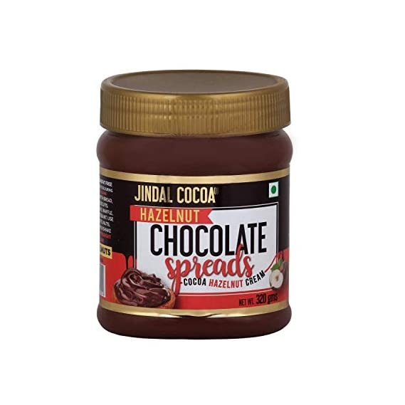 Jindal Cocoa Chocolate Hazelnut Cream Spread 320gm, Vegetarian, no artificial flavours, no palm oil and no preservatives
