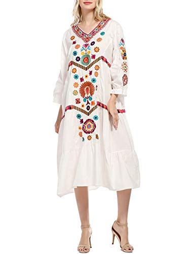 (Doballa Women's Bohemian Embroidered Floral Ruffled Mexican Peasant Tunic Flowy Shift Midi Dress)