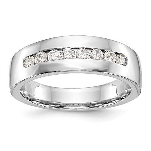 Size 8.5 - Solid 14k White Gold AA Diamond Men's Channel Wedding Band (7mm) (.472ct.)