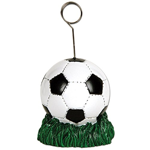 Pack of 6 Black and White Soccer Ball Photo or Balloon Holder Party Decorations 6 oz.