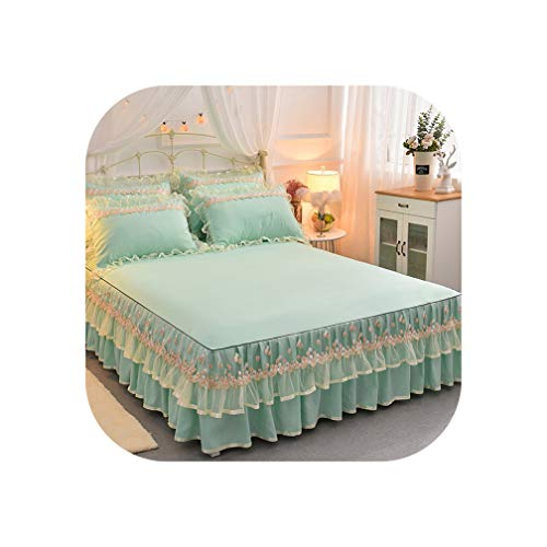 Lace Bed Set King Queen Size Bedding Set Solid Bed Skirt Sheet Pillowcases for Girls Wedding Bedding Home Textile,A,200 x 220cm-3pcs,Bed Skirt