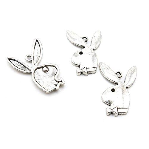 5 PCS Jewelry Making Charms X8KR0U Playboy Rabbit Antique Silver Tone Necklace Bracelet Repair Bulk Lots Pendant Findings (Playboy Rhinestone Rabbit)