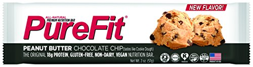 PureFit Gluten-Free Nutrition Bars with 18 grams Protein: Peanut Butter Chocolate Chip, 2 oz Bars, Pack of 15