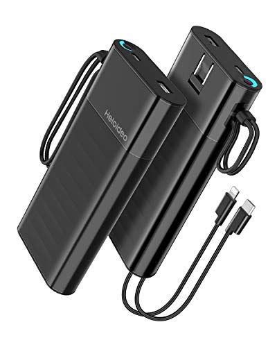 Heloideo 20000mAh Portable Power Bank External Battery Pack Charger Fast Charge QC3.0 PD 18W Total 5.1A 28.5W Built-in AC Wall Plug,Built in Cables Compatible iPhone Xs/XS Max / 8 / Plus, Pixel,