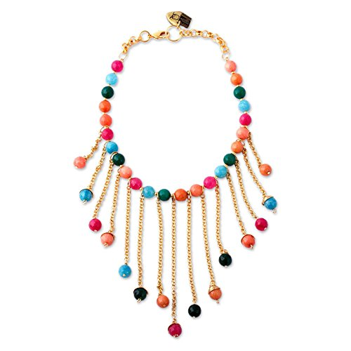 NOVICA Agate 24k Gold Plated Beaded Necklace, 16.5