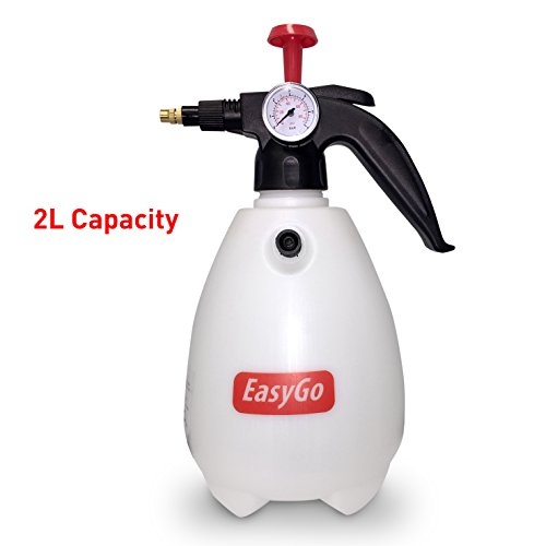 EasyGo Spray Bottle Hand Pump Pressure Sprayer W/Pressure Gauge - Mister Setting - Great for Gardening, Fertilizing, Cleaning & General Use Spraying Water - Chemicals - Pesticides (2.0 Liter)
