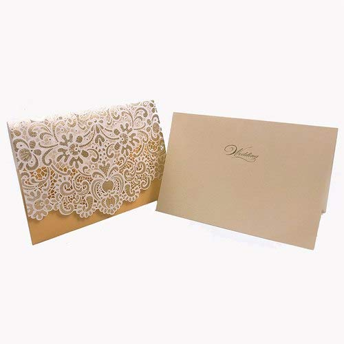 1pcs Gold White Red Luxury Flora Laser Cut Wedding Invitations Card Elegant Wedding Envelopes Event Party Wedding Decoration -