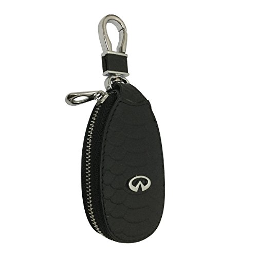 New 1pcs Black Leather Eye Drop Shape Car Key Wallet Zipper Case Keychain Coin Holder Metal Hook Bag Collection For Infiniti Car Vehicle Auto Lover
