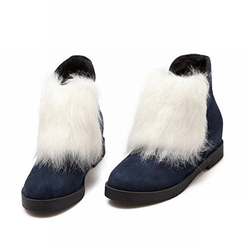 Show Shine Womens Fashion Faux Fur Platform Hidden Wedge Heel Ankle Boots Navy Blue PtauiQq