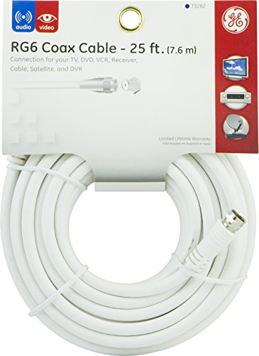 030878732826 - GE 73282 25-Feet RG6 Coaxial Video Cable, White, F Type Connections carousel main 1