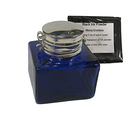 """Antique Square Cobalt Blue Glass Inkwell Reproduction, 1-3/8""""w x1-3/4""""h, with Ink Powder"""