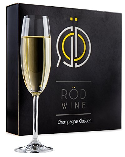 Champagne Glasses Set - Lead Free Titanium Crystal Sparkling Wine Glass, 7.5 oz. Elegant Fluted Glassware - Best For Weddings, Parties and Special Celebrations - The Perfect Gift Idea (Rose Fluted Champagne)