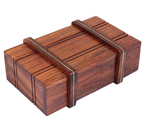 Storeindya Diwali Gifts Boxes Ideas Diwali Games Boxes Festive Décor Gifts for All decoration festival of lights Dipawali Diwali gifts Diwali puja Deepawali décor – Wooden Trick Box – Trinket Jewelry Box – Rectangular Sliding Keepsake Box