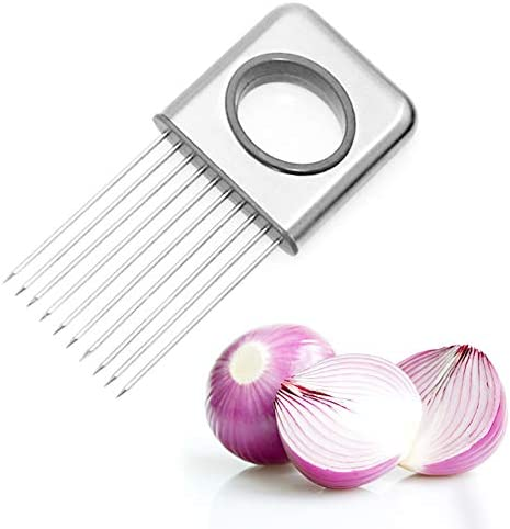 Onion Holder Slicer Vegetable Tools Potatoes Tomatoes Avocados Slicing Stainless Steel Cutting Kitchen Gadget Onion Peeler