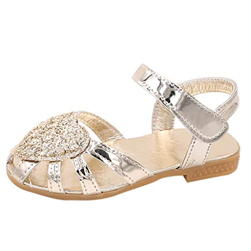 Tantisy ♣↭♣ Girls Bling Crystal Sandals/Sequins Princess Shoes/Sweet Outdoor Single Shoes (Toddler/Little Kid/Big Kid) Gold