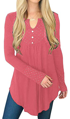 Yiershu Women Loose Tops Tee Sexy V Neck Long Sleeve Casual Blouse Flowy Ruched Tunics T-Shirt Polka Dot Botton Front Pink