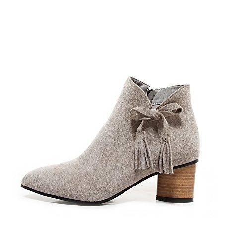 Heels Suede Solid Zipper Boots Women's high AmoonyFashion Imitated Kitten Gray Ankle qwxS8nCOU
