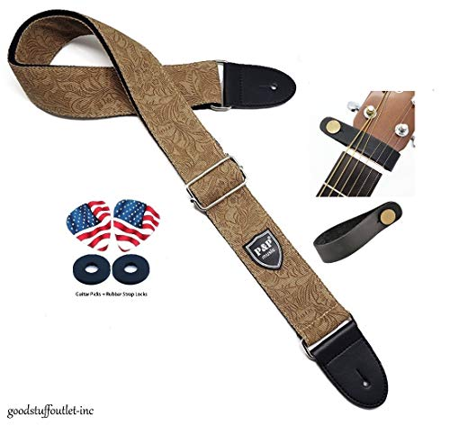 Acoustic Electric Guitar Strap. Cotton Denim with Patterns. (From Magik Wagon)