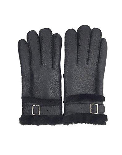 YISEVEN Men's Shearling Sheepskin Winter Gloves with Adjustable Fastening Buckle,Black,9.5