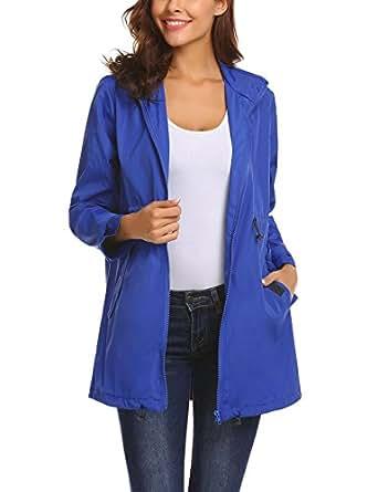 Mofavor Women's Waterproof Lightweight Rain Jacket Anorak with Detachable Hood Blue S