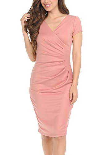 (Auliné Collection Womens V-Neck Zip Up Work Office Career Side Wrap Sheath Dress Pink 1XL)