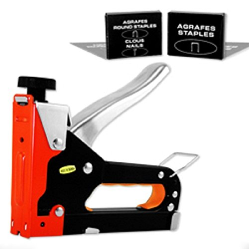 Three Way Staple Gun w/Staples And A must have staple gun for picture framing. Secures the artwork, glass and backing board in the frame. Flat metal tabs are flexible and allow ()