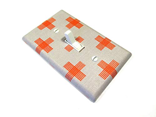 (Light Switch Cover Plate Burnt Orange and Gray Swiss Cross)